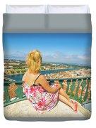 Coimbra Cityscape Woman Duvet Cover