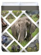 Collage Of Animals From Tanzania  Duvet Cover