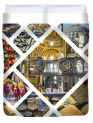 Collage Of Istanbul Duvet Cover