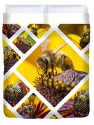 Collage Of Western Honey Bee Duvet Cover