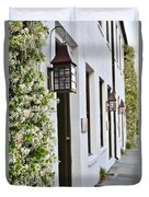 Colonial Home Exterior With Vertical Plants And Old Lanterns Displayed On The Side Of Home Duvet Cover