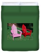 colorful Adirondack chairs Duvet Cover
