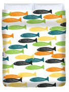 Colorful Fish  Duvet Cover by Linda Woods