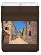 Colorful Mediterranean Stone Street Of Prvic Island Duvet Cover