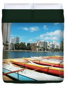 Colorful Outrigger Canoes Duvet Cover