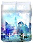Columbus  Watercolor Skyline Duvet Cover