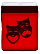 Comedy N Tragedy Red Duvet Cover