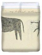 Copies After San Rock-paintings Of An Ox, A Baboon, And A Man, Robert Jacob Gordon, 1777 Duvet Cover
