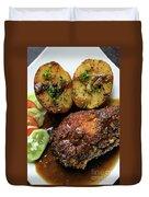 Cordon Bleu Breaded Fried Chicken Gravy And Potatoes Meal Duvet Cover