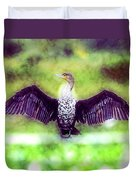 Cormorant Dries Its Wings Duvet Cover