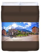 Cortina D' Ampezzo Street And Alps Peaks Panoramic View Duvet Cover
