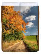 Country Road And Autumn Landscape Duvet Cover