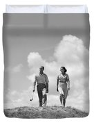 Couple Out Golfing, C.1930s Duvet Cover