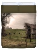 Cows In A Field By A Barn Duvet Cover