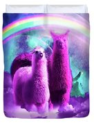 Crazy Funny Rainbow Llama In Space Duvet Cover