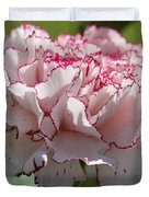 Creamy White With Red Picotee Carnation Duvet Cover