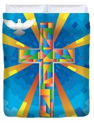 Cross With Dove Duvet Cover