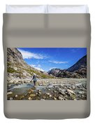 Crossing A River In Patagonia Duvet Cover
