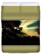 Cumulus Cloud At Dusk, Tree Silhouettes Duvet Cover