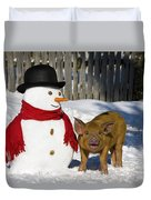 Curious Piglet And Snowman Duvet Cover