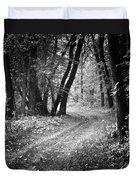 Curving Trail Entering Deciduous Forest Duvet Cover