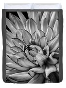 Dahlia In Black And White Close Up Duvet Cover
