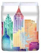 Atlanta Landmarks Watercolor Poster Duvet Cover