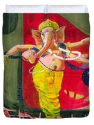Dancing Ganapati With Universe And Abstract Back Ground Duvet Cover