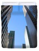 Dark Manhattan Skyscrapers Duvet Cover
