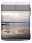 Dawn On Inle Lake Duvet Cover