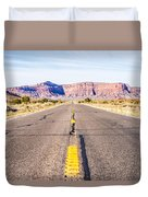 descending into Monument Valley at Utah  Arizona border  Duvet Cover