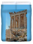 Detail Of The Acropolis Of Athens, Greece Duvet Cover