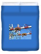 Detail View Of Container Loading Cranes Duvet Cover