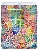 Detroit Michigan City Map Duvet Cover