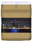 Detroit Skyline Panorama Duvet Cover