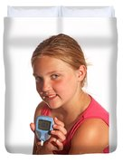 Diabetic Child With Blood Glucose Tester Duvet Cover
