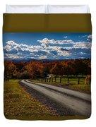 Dirt Road Through Vermont Fall Foliage Duvet Cover