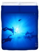 Diver On Mahi Wreck Duvet Cover
