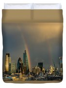 Double Rainbow Over The City Of London Duvet Cover