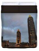 Downtown Cleveland At Dusk Duvet Cover