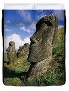 Easter Island Moai Duvet Cover