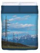 Electric Power Transmission Pylons On Inner Mongolia Grassland At Sunrise  Duvet Cover