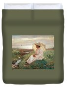 Elegant Lady By The Sea Duvet Cover