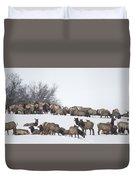 Elk Herd In The Snow Duvet Cover
