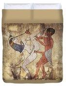Erotic Drawing Looks Like Fresco Duvet Cover