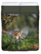European Robin Alighting Duvet Cover