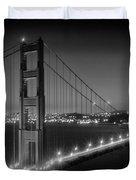 Evening Cityscape Of Golden Gate Bridge - Monochrome Duvet Cover