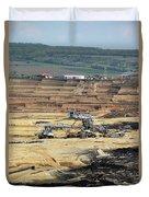 Excavators Working On Open Pit Coal Mine Duvet Cover