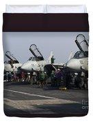 F-14d Tomcats On The Flight Deck Of Uss Duvet Cover