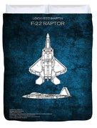 F22 Raptor Blueprint Duvet Cover